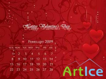 Romantic February 2009 Calendar Wallpaper