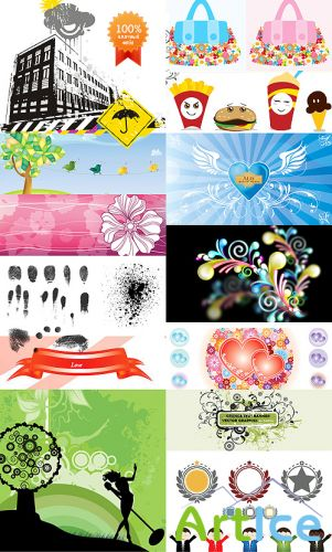 35 beautiful mix vector illustrations