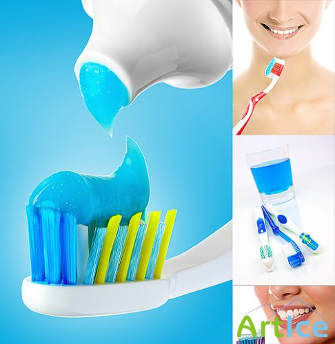 Dental brushes and tube with paste