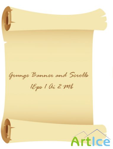 Grunge Banner and Scrolls