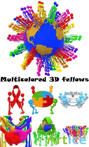 Multicolored 3D fellows