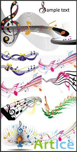 Vector musical note color