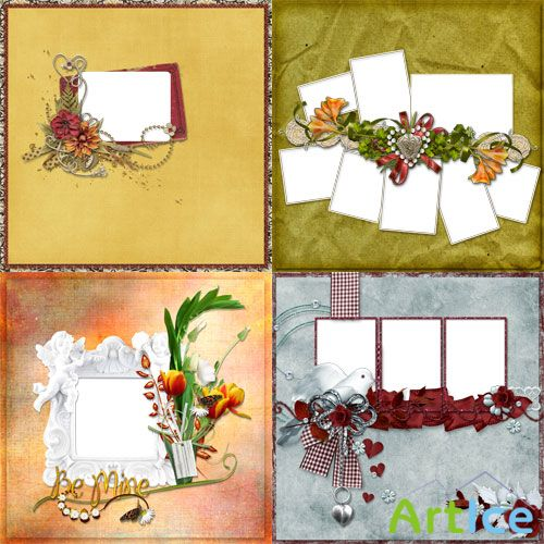 4 Romantic Scrap-pages for processing photos
