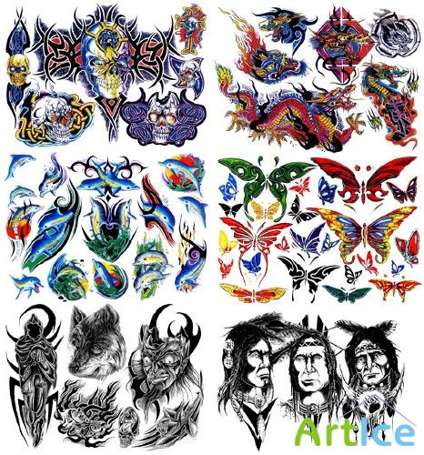 Gary Davis Tattoo Flash With Transparent Backgrounds