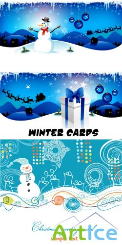 Winter blue cards