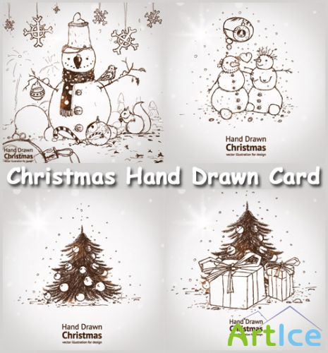 Christmas Hand Drawn Card - Stock Vectors