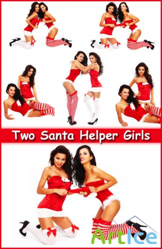 Two Santa Helper Girls - Stock Photos