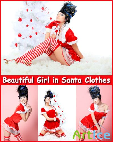 Beautiful Girl in Santa Clothes - Stock Photos