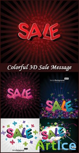Colorful 3D Sale Message - Stock Vectors