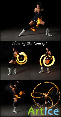 Flaming Poi Concept - Stock Photos