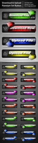 Download and Upload Premium Button Set - GraphicRiver