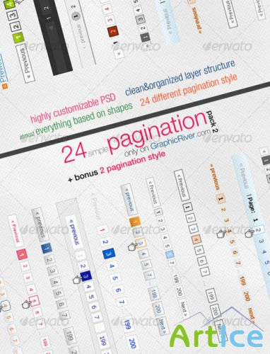 24 Simple Pagination Style Pack 2 - GraphicRiver
