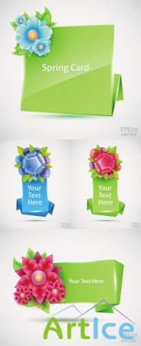 Banners With Spring Flowers Vector