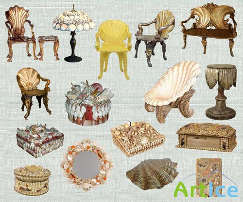PSD Clipart - Seashell Furniture