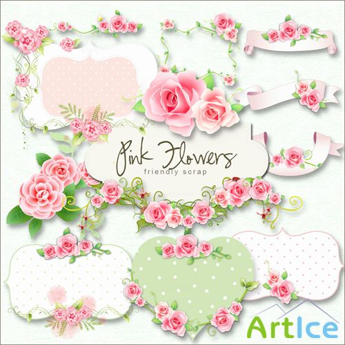 Scrap-kit - Pink Flower Labels