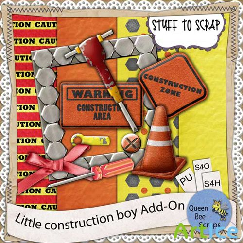 Scrap-set - Little Construction Boy Add-On
