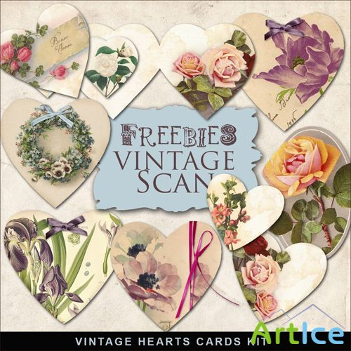 Scrap-kit - Vintage Hearts Cards