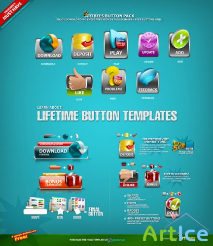 Lifetime button templates - Artbees