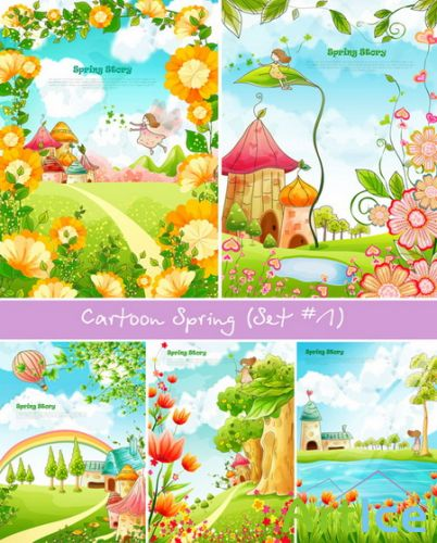 Cartoon Spring in vector (Set 1)