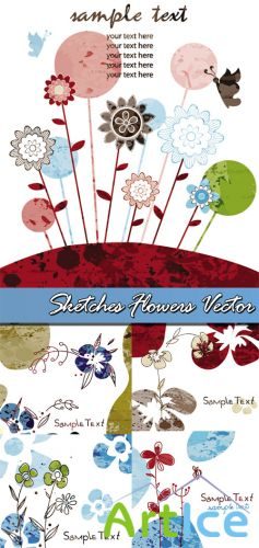 Sketches Flowers Vector
