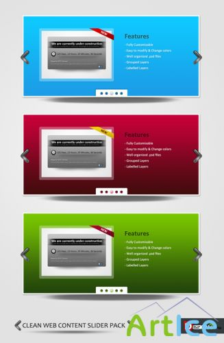 Clean & Free Web Content Slider Pack