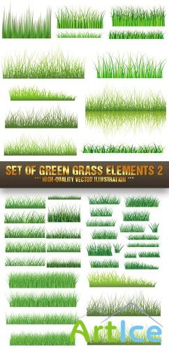 Stock Vector - Set Of Green Grass Elements 2