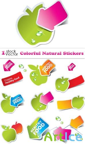 Colorful Natural Stickers Vector
