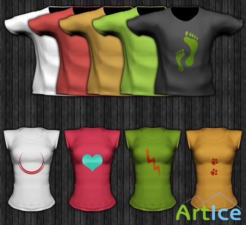 Tee and Ladies Short Sleeved Template