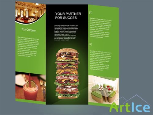 Fast Food Restaurant tri-flod Brochure - PSD files