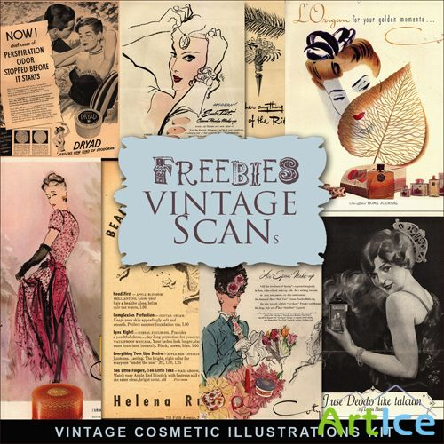 Scrap-kit - Vintage Cosmetic Illustrations