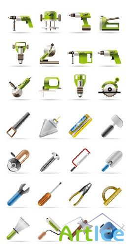 Hand Tools and Power Tools - Vector Icons