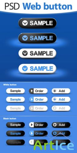 Blue Web Button psd