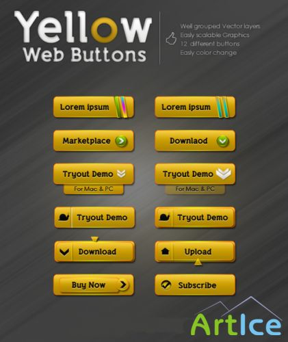 Yellow Web Buttons