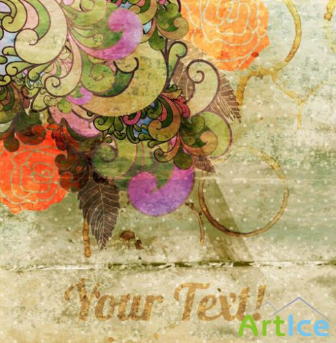 Antique Floral Templates Vector