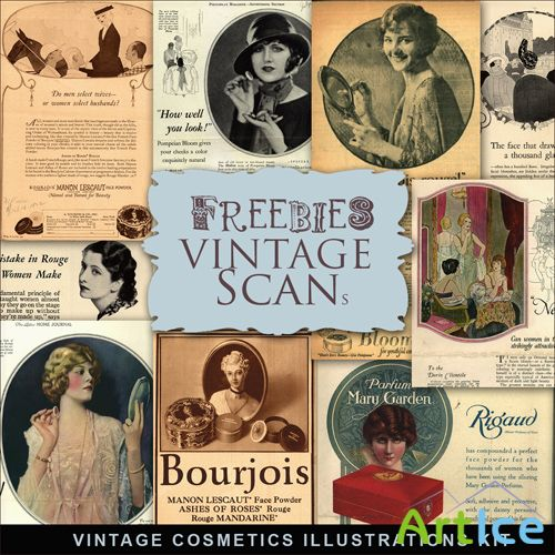 Scrap-kit - Vintage Cosmetic Illustrations #2