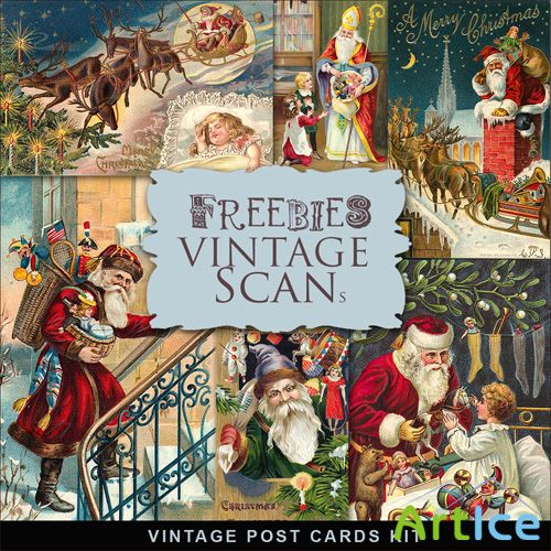 Scrap-kit - Vintage X-mas Postcards #7