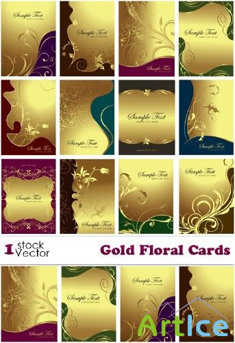 Gold Floral Cards Vector