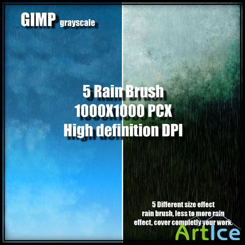 5 Rain Brushes for GIMP