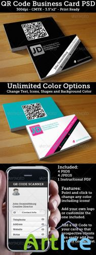 GraphicRiver - QR Code Business Card - Unlimited Colors