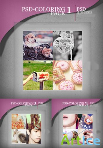 PSD Coloring action pack 1,2,3