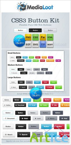 CSS3 Button Kit - MediaLoot