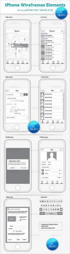 iPhone Wireframes Elements Template