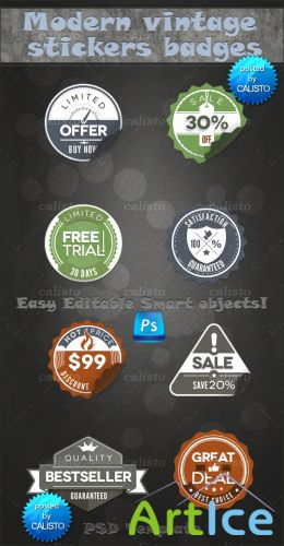 Modern Vintage Stickers Badges PSD Template
