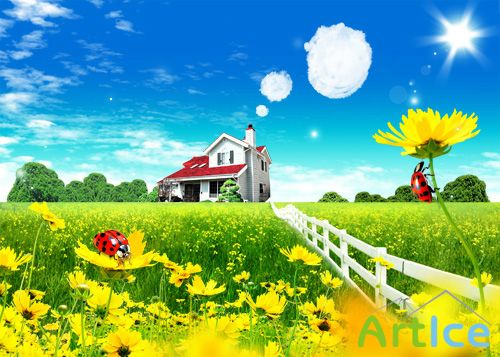 The big beautiful house in the country psd for Photoshop
