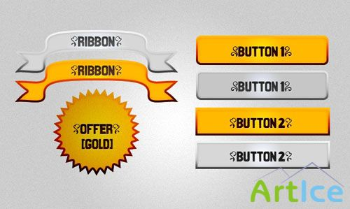 Gold And Silver Buttons + Tags PSD Template