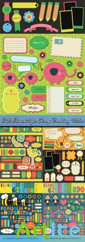 Cute Elements for Scrap Booking Vector