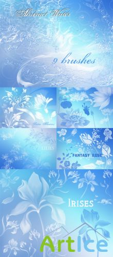 Abstract Water and Fantasy Flowers Brushes Pack for Photoshop