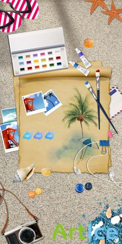 The bright colors of summer vacation on the beach Psd for Photoshop