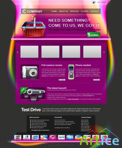 Colorful commerce psd template for Photoshop