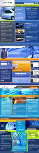 Blue Web Template pack 3 for Photoshop